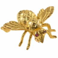 Gold Bee Pin With Ruby Eyes